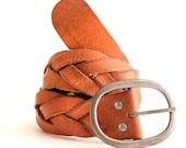 Womens Leather Belt, Chunky Braided Leather Belt,