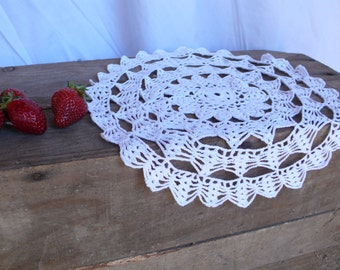 Large Circular Doily, circle handmade, french lace, white crochet, table runner, home decoration, french homewares, vintage lace handwork