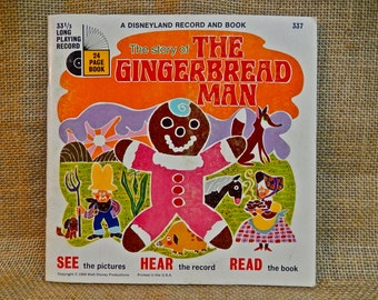 The Disneyland Record and Book of - The Gingerbread Man - 1969 Vintage Vinyl 33 1/3 rpm Record Album...w/24 Page Book