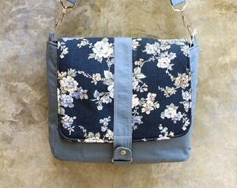 SALE Gray Blue Canvas bag, Navy Floral flap, Messenger bag, Shoulder bag, Cross body Purse, Weekend bag, Zipper, Women, Travel - Kiyomi