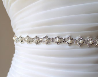 Bridal Slim Pearl Rhinestone Sash. Crystal Jewel Thin Wedding Dress Belt. Bridesmaid Ribbon Sash.  ELLA