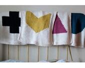 Baby blanket knitting pattern, geometric design, 4 pack, multi, circle, chevron, triangle, swiss cross