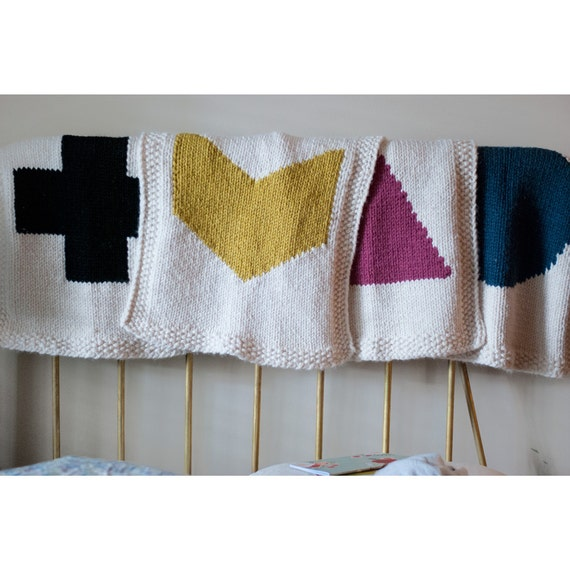 Baby blanket knitting pattern geometric design 4 pack