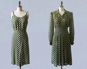 1940s Dress / 40s TWO PIECE Slip Dress and Sheer Chiffon Dress / Smocked Waist / Polka Dots