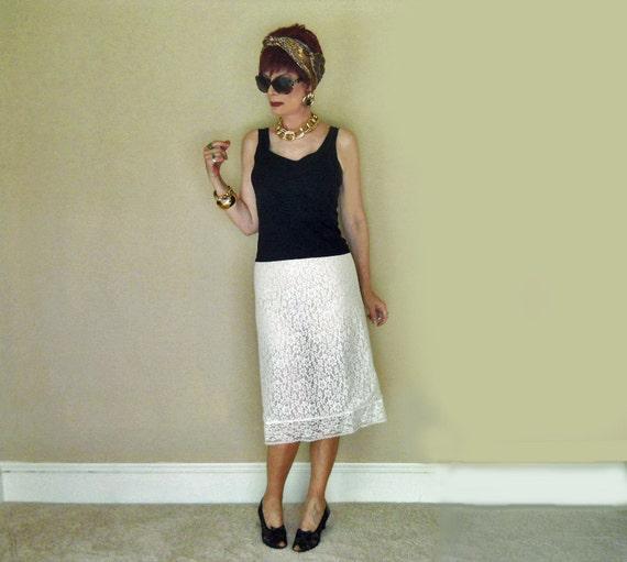 50s lace pencil skirt slip lacy white half slip 1950s