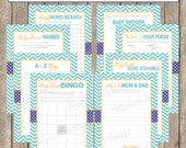 Baby Shower Game Pack - Baby Shower Games Orange and Blue - Printable Shower Activity Cards - Printable Shower Games - INSTANT DOWNLOAD lm1