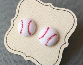 Baseball Earrings, on titanium posts for sensitive ears