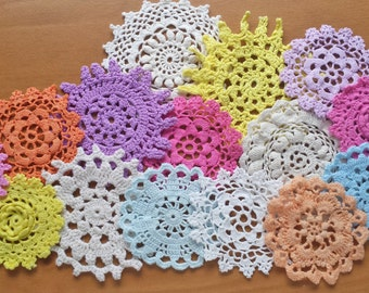 15 Pink, Turquoise, Orange, Yellow, Purple, and White Hand Dyed Crochet Doilies