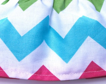 Pink Yellow Green and Aqua Chevron Cotton Riley Blake - Fancy Ruffled Rubber Gloves - Cleaning Gloves - Dishwashing Gloves