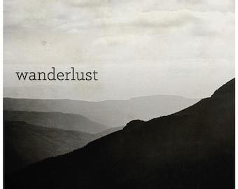 Black and white photography, mount saint helens, explore, typographic nature art print