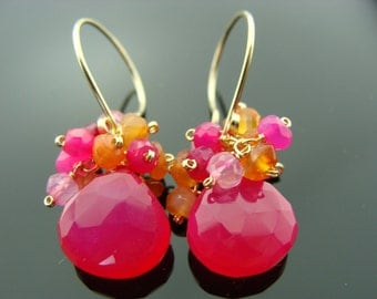 Hot Pink Chalcedony and Carnelian 14K Gold Filled Earrings