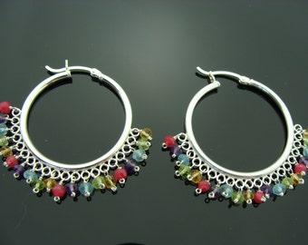 Multi Stone Hoops Sterling Silver Earrings