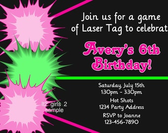 Laser Tag Invitation - Pink Green - Laser Tag Birthday Party - Printable JPEG File #2