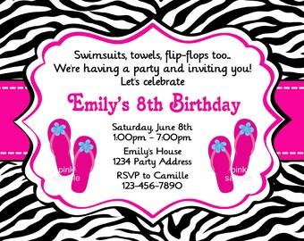 Girl Pool Party Invitation - Birthday Party - Pink Blue Purple - Zebra Print - Flip Flops - Printable Digital JPEG File