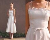 Vtg White Midi Dress Bridal Tea Length Rehearsal Bride Wedding Full Skirt