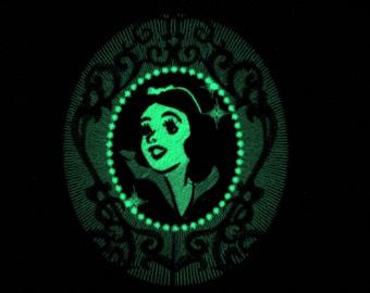 Snow white mirror / Glow in the dark special designed machine embroidery
