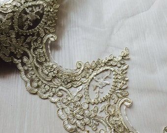 Gold Lace Trim Vintage Retro Embroidered Tulle Lace Trim For Costumes Veils Dress