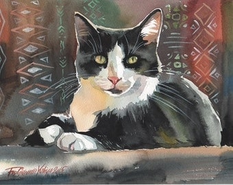 Print of the Original Watercolor Painting Tuxedo Cat Black and White Cat Kitty Kitten