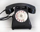 Antique Black French Rotary Phone -Telephone of the 50 s in black bakelite - Ericsson BCI 330-1