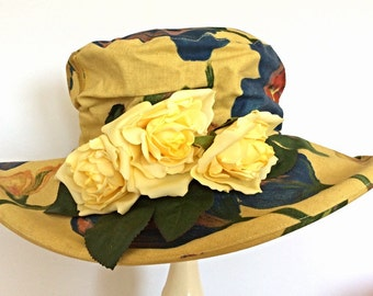 Gold cotton hat with yellow roses. OOAK