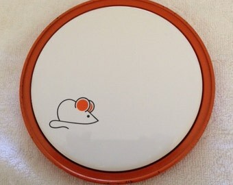 Vintage Mouse Cheese Tray--Orange