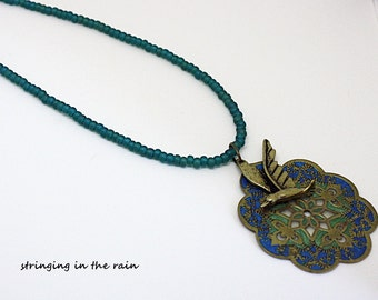 Bird Necklace, beaded, with teal beads and a boho matching pendant  No. 7