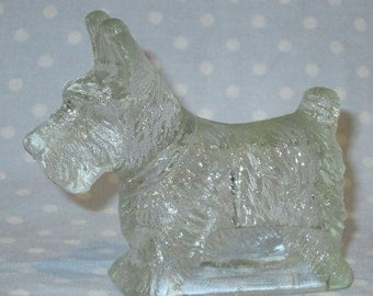 Vintage Scotty Dog Scottie Dog Clear Glass Candy Container