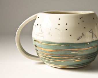 large drinking cup, FISHERMAN'S DREAM. coffee mug for dad, large coffee cup. unique, gold, blue nautical porcelain cup. father's day gift