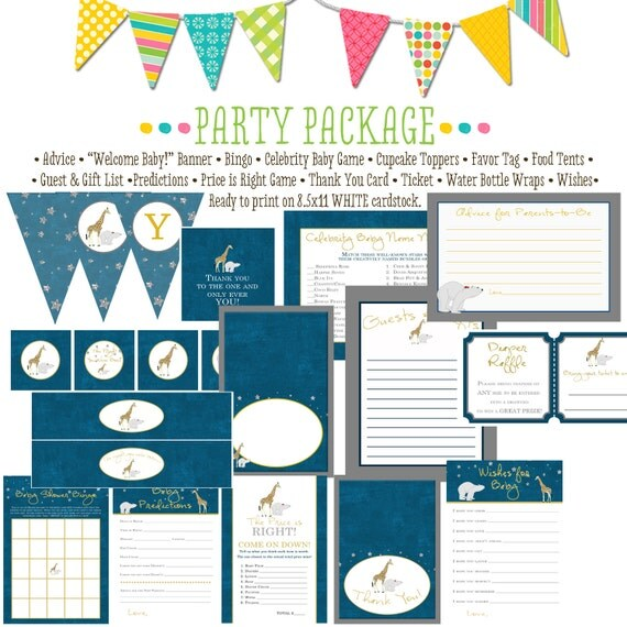 The night you were born item 1422 package AS IS Matching games, ticket, banner, bingo, thank you card, water bottle wraps, cupcake toppers