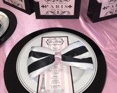 PRINTABLE Paris Theme Menu Card, Pink, white, black