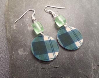 Scottish Tartan Earrings, Lightweight Earrings, Green Plastic Earrings, Blue Lindsay Clan, Highland Dance Jewelry, Plaid Earrings,