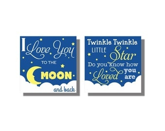 Navy Yellow Baby Boy Nursery Sign I love you to the moon and back Twinkle Twinkle Little Star Nursery Canvas Decor