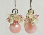 Cluster  Earrings, Peruvian Opal Earrings, Keishi Pearl and Opal Earrings. Chandelier Earrings Gemstone Earrings