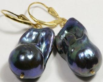 Baroque Black Pearl Earrings  Irregular Pearl Kasumi Like Pearls Huge Pearl Wrinkles Pearl Freshwater Pearl Exotic Birthstone June
