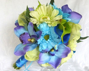 Shades of green and blue Orchid Bridal Bouquet Destination wedding orchid and gerbera bouquet
