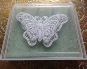 Vintage English lace butterfly decoration outfit pin craft hat decor cased circa 1970's / English Shop