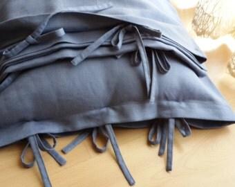 Solid denim blue gray linen bedding Twin XL / EU Single duvet cover tie closure men's bedding - Twin XL college dorm bedding by Nurdanceyiz