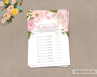 Watercolor Flowers How Old is the Bride to Be Game Card - Guess the Bride's Age Game - Rose Pink Peony - INSTANT DOWNLOAD - Rose Collection