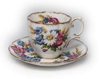 Vintage Royal Albert Harvest Bouquet Floral Tea Cup & Saucer with Gold AccentTrim.