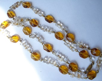 Vintage Necklace Amber and Clear Glass Beads Chain Linked 30's 40's