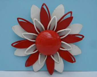 Vintage Brooch Large Red and White Flower 60's