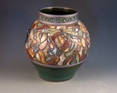 High Quality Vase With Mosaic Design, Dragonflies, Multiple Colored Tiles, Green Tiles On Rim, Lovely Green Glaze, Ready To Ship
