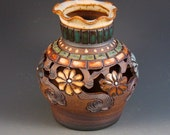 Stoneware Vase With Flowers, Cutouts, Colored Tiles, Slip Dots, Green Tiles, Soft Brown Glaze, Ready To Ship