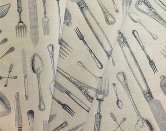 Knife Fork & Spoon Medley Wrapping Paper - Kraft Wrap - Wrapping - Recycle - Table Runner - Scrapbooking