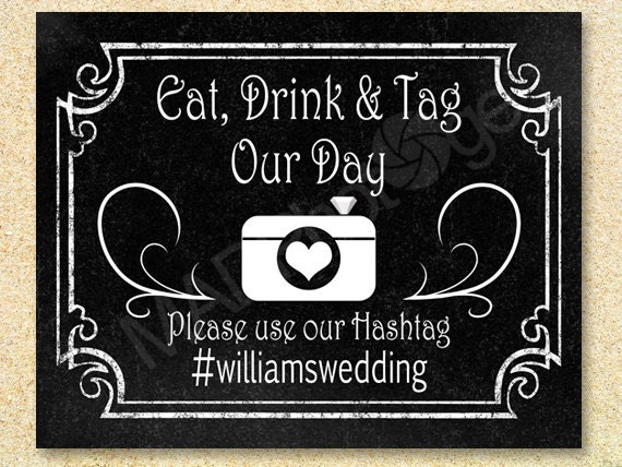 Printable Hashtag Chalkboard Sign Wedding
