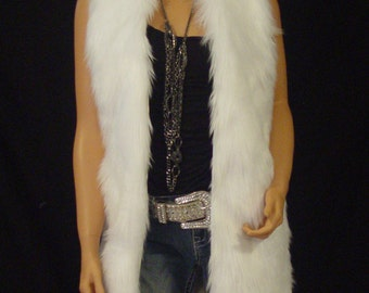 Long Faux Fur Vest In White Angora Style: FVA512