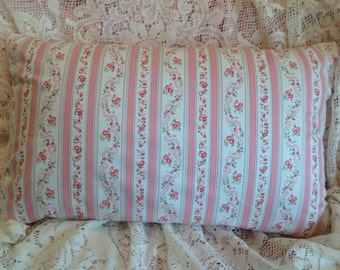 Shabby VINTAGE TICKING pillow COVER pink and white Sweet!