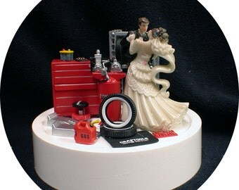 Car AUTO MECHANIC Wedding Cake Topper Bride & Groom Tool Box FUNNY Racing Tire Garage