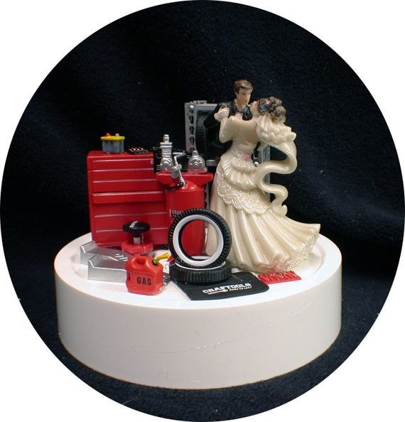 car auto mechanic wedding cake topper bride groom tool box. Black Bedroom Furniture Sets. Home Design Ideas