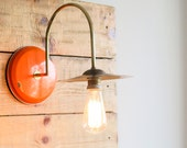 Wall lamp, Wall sconce, Steampunk lamp, Orange lampshade, Upcycled lighting, Wall lighting, Designer lamp, Cool lighting by StudiORYX